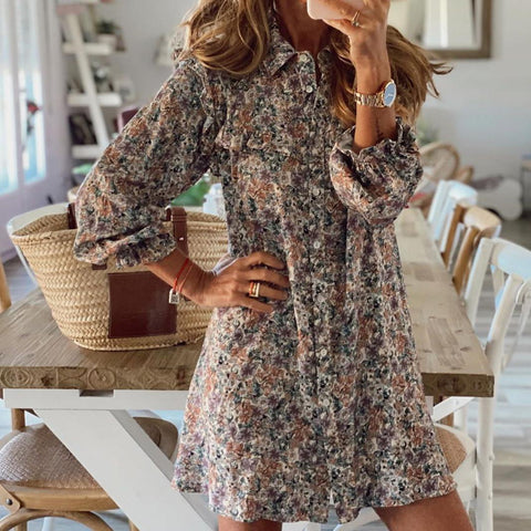 Stunning Collared Floral Mini Dress-Taupe-S-