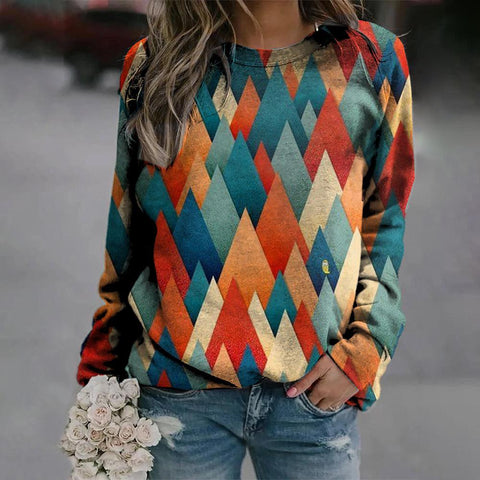 Stunning Color Block Long Sleeve Sweatshirt-Multicolor-S-