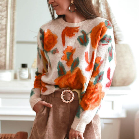 Stunning Long Sleeve Printed Sweater-Apricot-S-