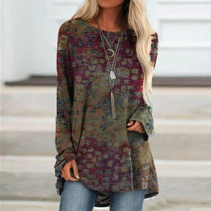 Stunning Long Sleeve Printed Top-Multicolor-S-