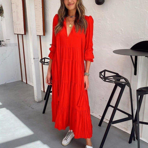 Stunning Plain Long Sleeve Midi Dress-Red-S-