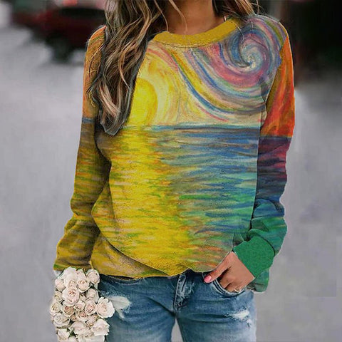 Stunning Print Long Sleeve Sweatshirt-Multicolor-S-