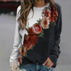 Stunning Round Neck Floral Long Sleeve Sweatshirt-Black-S-
