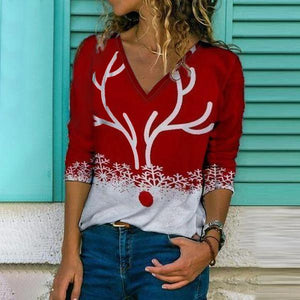 Stunning V-Neck Long Sleeve Printed Top-Red-S-