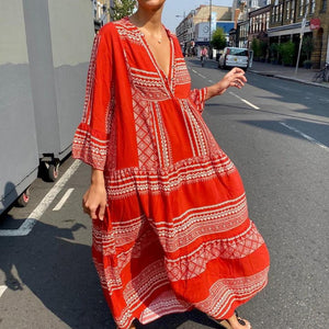 Stunning V-Neck Long-Sleeved Maxi Dress-Red-S-