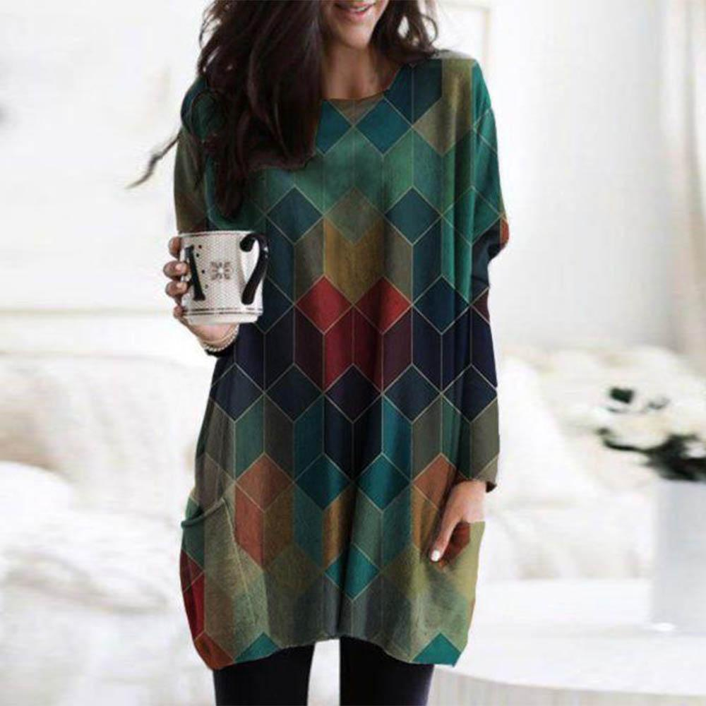 Stylish Argyle Print Long Sleeve Tee-Green-S-