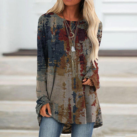 Stylish Baggy Long Sleeve Print Top-Grey-S-