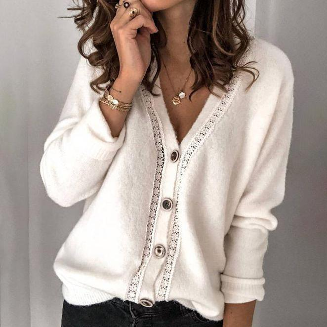 Stylish Button Front Long Sleeve Sweater Cardigan-Apricot-S-