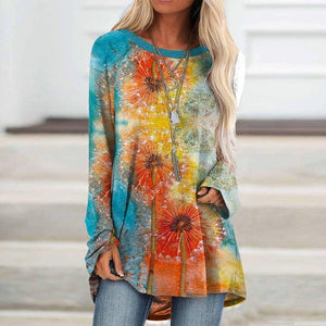 Stylish Color Block Long Sleeve Printed Top-Multicolor-S-