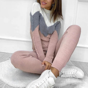 Stylish Color Block Long Sleeve Sweater Lounge Set-Pink-S-