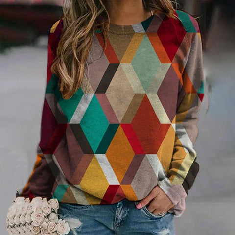 Stylish Color Block Long Sleeve Sweatshirt-Multicolor-S-