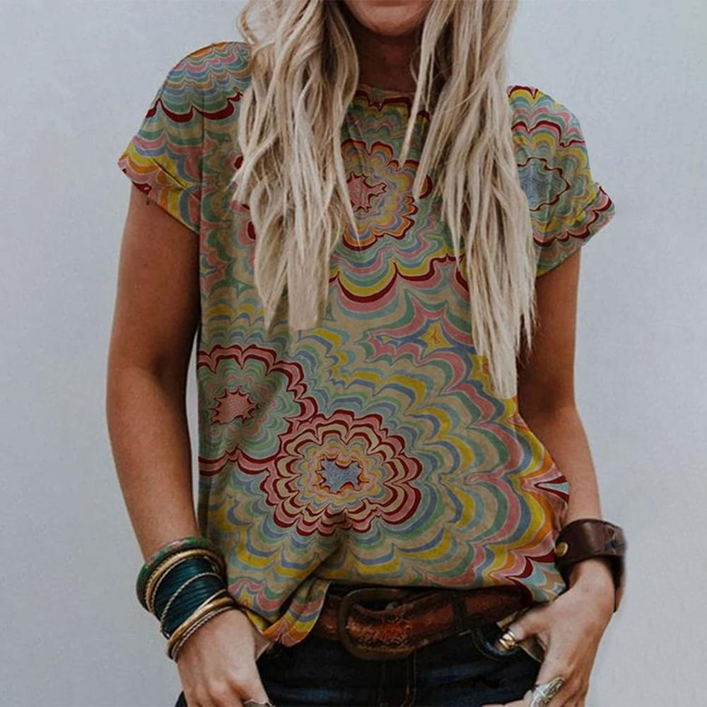 Stylish Floral Round Neck Tee-Multicolor-S-