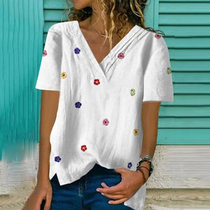 Stylish Floral V-Neck Short Sleeve Top-White-S-