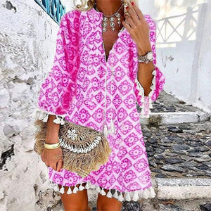 Stylish Hot Pink 3/4 Sleeve Tassel Mini Dress-Hot Pink-S-
