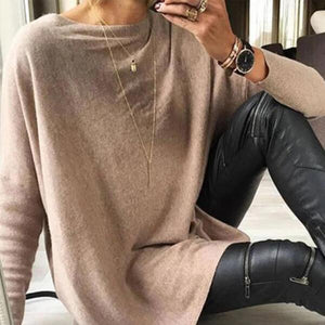 Stylish Khaki Plain Round Neck Long Sleeve Top-Khaki-S-