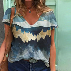 Stylish Landscape Printed V-Neck Tee-Blue-S-