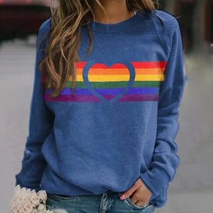 Stylish Long Sleeve Print Sweatshirt-Blue-S-