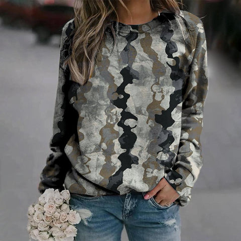 Stylish Long Sleeve Printed Sweatshirt-Grey-S-