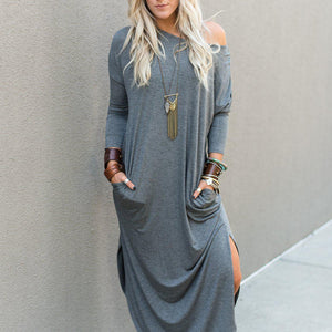 Stylish Plain Long Sleeve Maxi Dress-Grey-S-