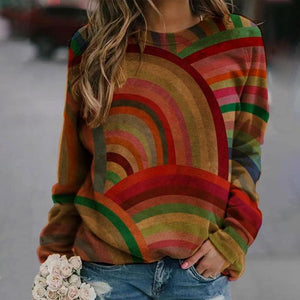 Stylish Round Neck Long Sleeve Color Block Sweatshirt-Multicolor-S-