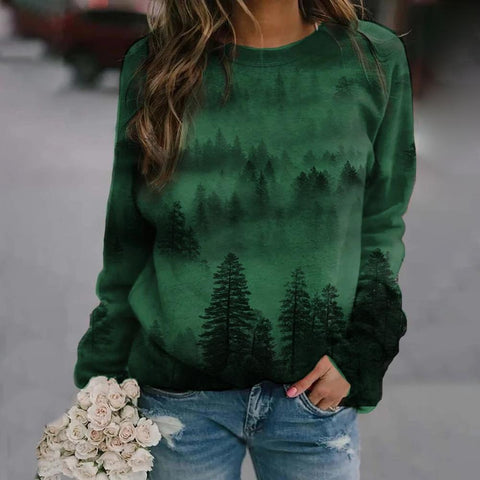 Stylish Round Neck Print Sweatshirt-Green-S-