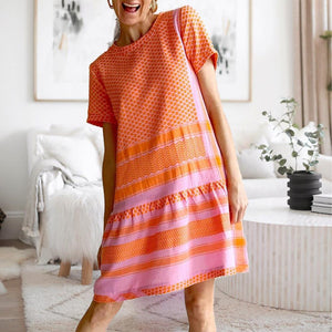 Stylish Round Neck Short Sleeve Printed Casual Dress-Orange-S-