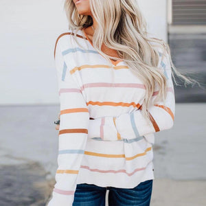 Stylish Striped Long Sleeve Top-White-S-