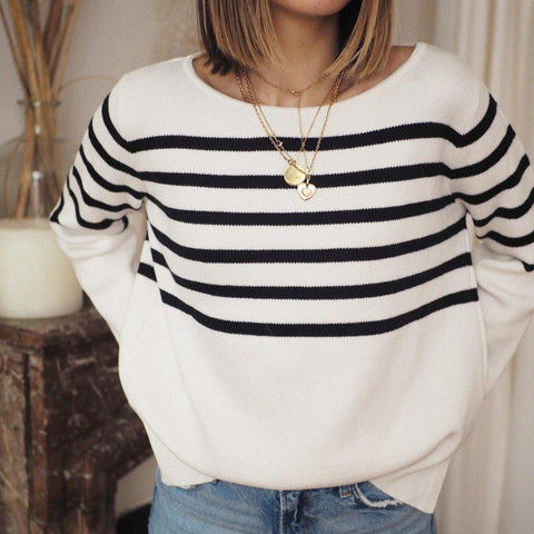 Stylish Striped Print Round Neck Long Sleeve Sweater-Black and White-S-