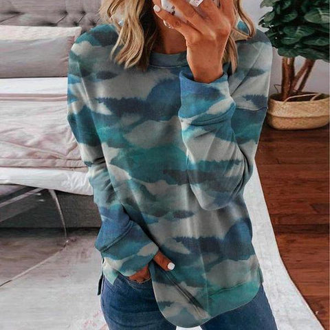 Stylish Tie-Dye Round Neck Top-Multicolor-S-