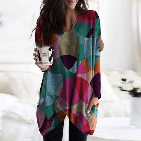 Stylish V-Neck Long Sleeve Color Block Top-Multicolor-S-