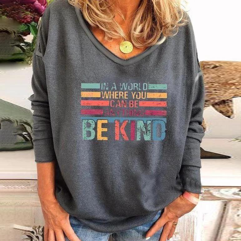 Stylish V-Neck Long Sleeve Printed Tee-Grey-S-