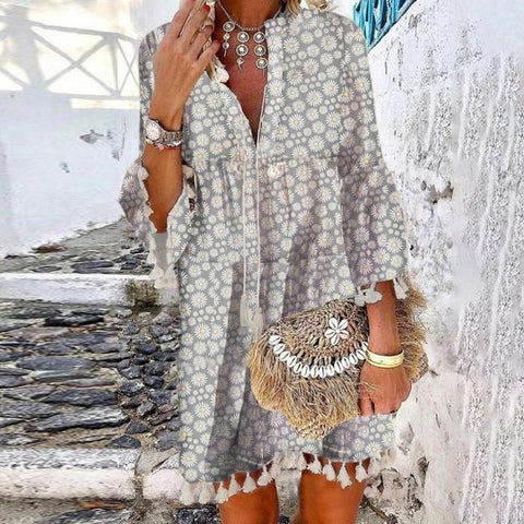 Summer V-Neck 3/4 Sleeve Daisy Printed Beach Dress-Grey-S-