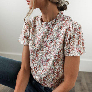 Summer Valentine Floral Print Blouse-Red-S-