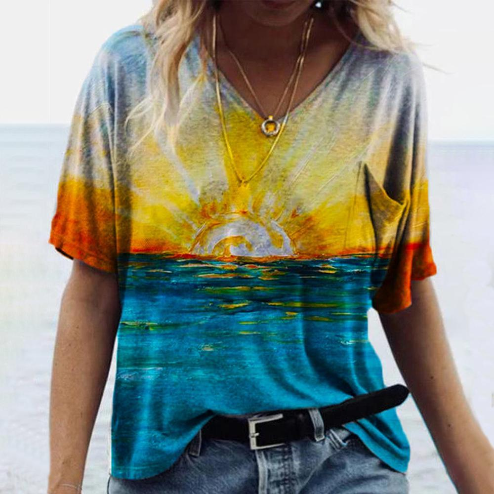 Sunrise Print Short Sleeve Tee-Blue-S-