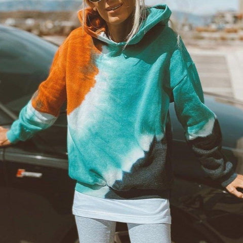 Super Cool Color Block Long Sleeve Hoodie-Green-S-