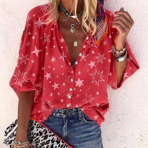Supernova Red Star Print Top-RED-S-