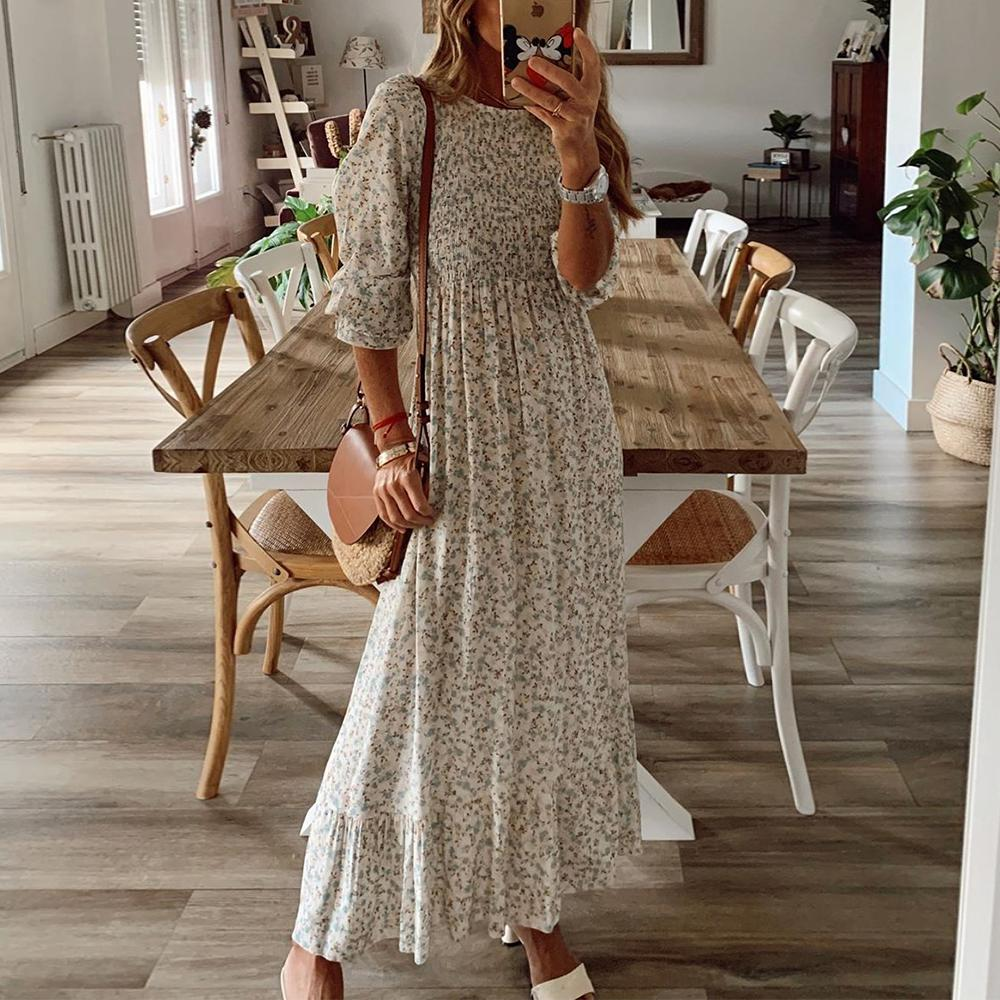 Sweet as Honey Floral Print Maxi Dress-White-S-