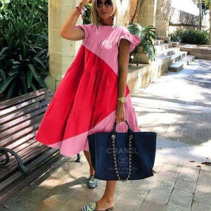 Sweet Loose Round Neck Short Sleeve Color Block Vacation Dress-PINK-S-
