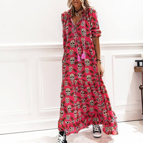 Sweet Treat Skull Printed Maxi Dress-Red-S-