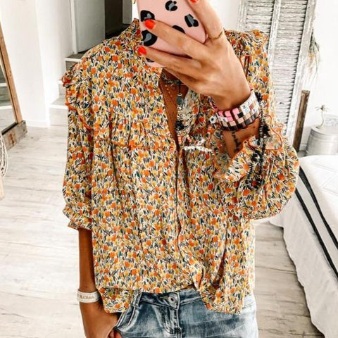 Sweetest Dreams Floral Print Blouse-Yellow-S-