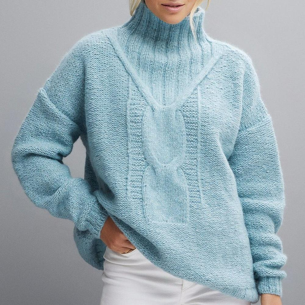 Temperament Blue High Neck Loose Long Sleeve Sweater-Blue-S-