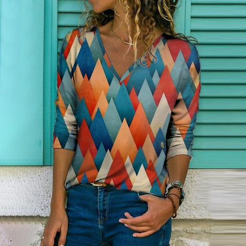 Temperament Color Block V-Neck Long Sleeve Tee-Multicolor-S-