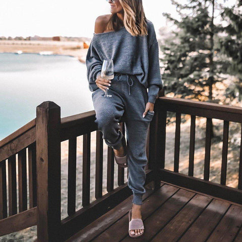 Temperament Grey Long Sleeve Lounge Two Piece Set-Grey-S-