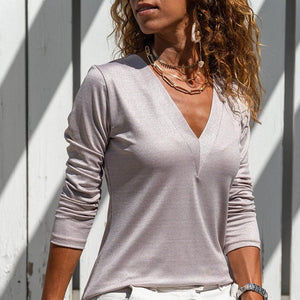 Temperament Plain V-Neck Long Sleeve Top-Baby Pink-S-