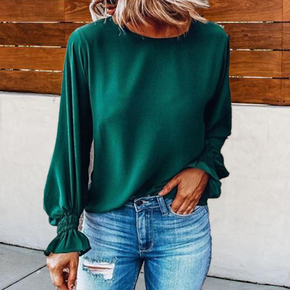 Temperament Solid Color Round Neck Long Sleeve Blouse-Green-S-