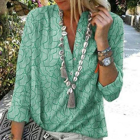 Temperament V-Neck Long Sleeve Printed Blouse-Green-S-