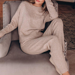 The Good Life Knit Lounge Set-Light Coffee-S-