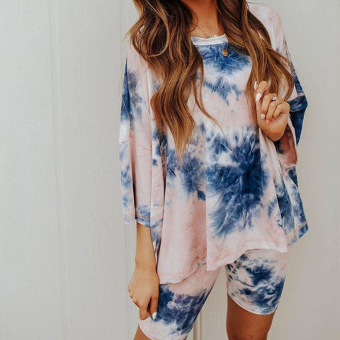 Tie Dye Round Neck 3/4 Sleeve Lounge Set-Blue-S-
