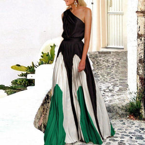 To the Maxi Pleated One-shoulder Dress-BLACK-S-