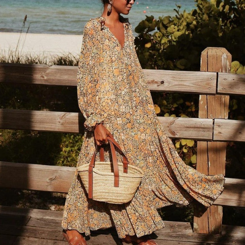 Toes in the Sand Floral Print Maxi Dress-MULTICOLOR-S-